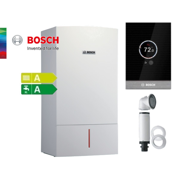 Пакет двуконтурен газов котел Bosch Condens 3000 W 27,4KW, базов димоотвод и термоуправление CT100
