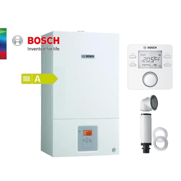 Пакет едноконтурен газов котел Bosch Condens 2500 W 14KW, базов димоотвод, термоуправление CR100, стенен бойлер 150л, датчик NTC за бойлер