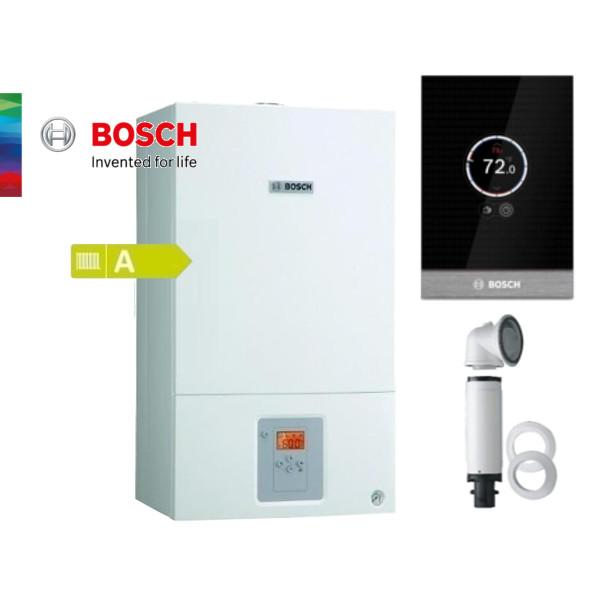Пакет едноконтурен газов котел Bosch Condens 2500 W 24.1KW, базов димоотвод и смарт управление Control CT100
