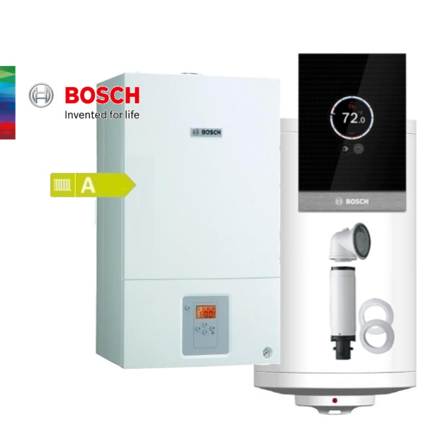 Пакет едноконтурен газов котел Bosch Condens 2500 W 14KW, базов димоотвод, термоуправление CT100, стенен бойлер 150л, датчик NTC за бойлер